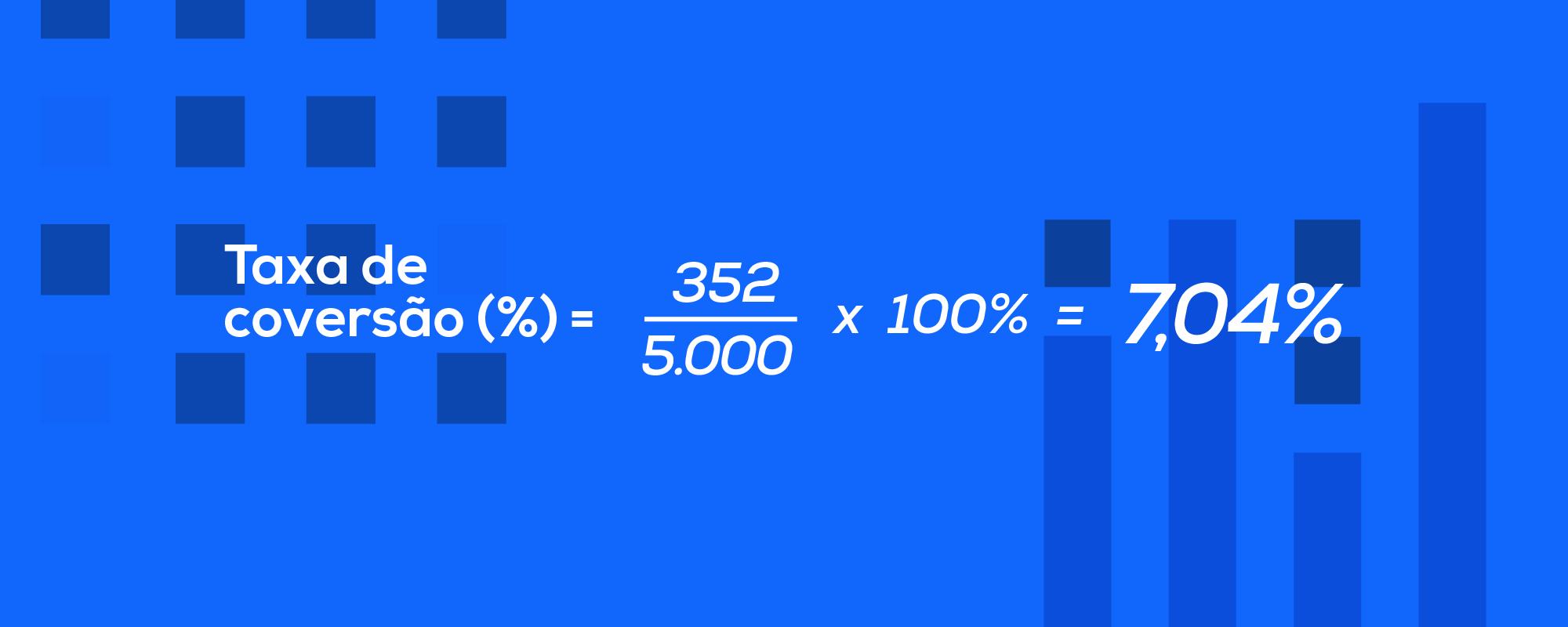 taxa de conversão exemplo